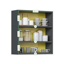 Armário Aéreo de Cozinha 2 Portas IP2-70 Pop Art I2 Itatiaia Grafite/Amarelo/Off White