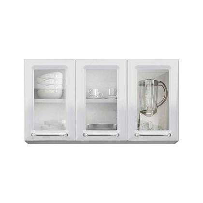 Armário Aéreo de Cozinha 3 Portas com Vidro IPV3-105 Luce Itatiaia Branco Neve