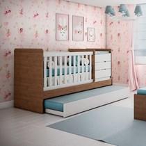 Berço Multifuncional Cléo Carolina Baby Branco/Amadeirado