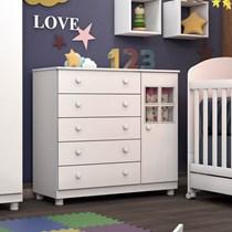 Cômoda Infantil 5 Gavetas 1 Porta Capricho Tcil Móveis Branco