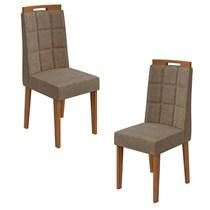 Conjunto 2 Cadeiras Nevada Lopas Rovere Naturale/Suede Animale Bege