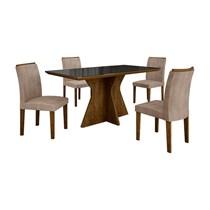 Conjunto de Sala de Jantar Mesa com 4 Cadeiras Creta Leifer Ypê/Preto/Animale Capuccino