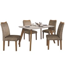 Conjunto de Sala de Jantar Mesa com 4 Cadeiras Lavínia Imbuia/Off White/Animale Capuccino