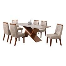 Conjunto de Sala de Jantar Mesa com 6 Cadeiras Ágata Leifer Imbuia/Off White/Veludo Palha