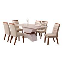 Conjunto de Sala de Jantar Mesa com 6 Cadeiras Atenas Leifer Off/Imbuia/Off White/Veludo Palha