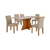 Conjunto de Sala de Jantar Mesa com 6 Cadeiras Creta Leifer Imbuia/Off White/Veludo Palha