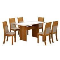 Conjunto de Sala de Jantar Mesa Florença com 6 Cadeiras Havaí Leifer Imbuia/Branco/Linho Bege