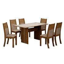 Conjunto de Sala de Jantar Mesa Florença com 6 Cadeiras Havaí Leifer Ypê/Off White/Pena Caramelo