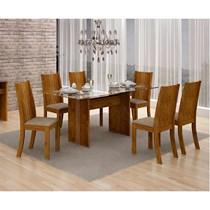 Conjunto de Sala de Jantar Mesa Havaí com 6 Cadeiras Vitória Leifer Canela/Linho Bege