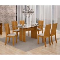 Conjunto de Sala de Jantar Mesa Havaí com 6 Cadeiras Vitória Leifer Imbuia/Pena Palha