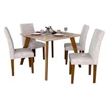 Conjunto de Sala de Jantar Mesa Quadrada com 4 Cadeiras Lavínia Imbuia/Off White/Veludo Palha