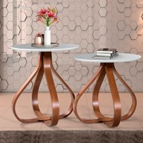 Conjunto mesa de canto Alice Ex Decor Amêndoa/Off White