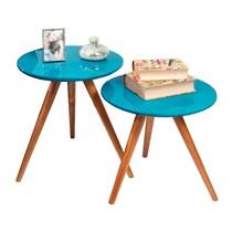 Conjunto mesa de canto madeira com vidro 0150 Ex Decor Amêndoa/Azul