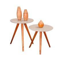 Conjunto mesa de canto madeira com vidro 0150 Ex Decor Amêndoa/Off White