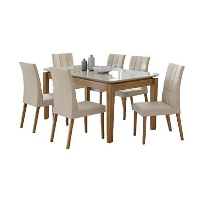 Conjunto Sala de Jantar Mesa Aries com 6 Cadeiras Odara Lopas Rovere Naturale/Rinzai Bege