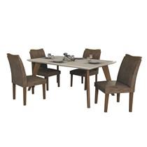Conjunto Sala de Jantar Mesa Lavínia com 4 Cadeiras Pampulha Leifer Imbuia/Off White/Animale Capuccino