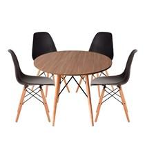Conjuto de Mesa Redonda Amadeirado com 4 Cadeira Eames Eiffel Preta