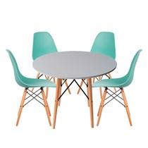 Conjuto de Mesa Redonda Branca com 4 Cadeira Eames Eiffel Tiffany