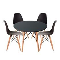 Conjuto de Mesa Redonda Cinza com 4 Cadeira Eames Eiffel Preta