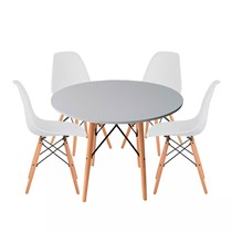 Conjuto de Mesa Redonda com 4 Cadeira Eames Eiffel Branca