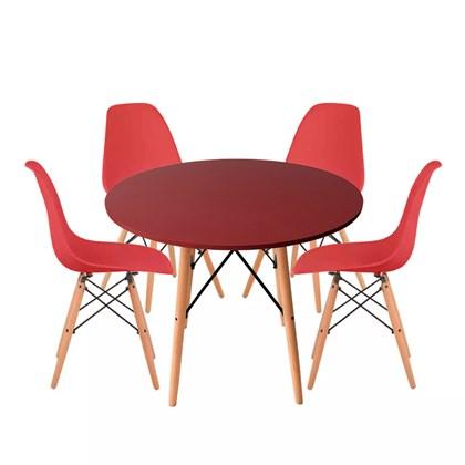 Conjuto de Mesa Redonda com 4 Cadeira Eames Eiffel Vermelho