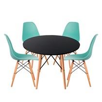 Conjuto de Mesa Redonda Preta com 4 Cadeira Eames Eiffel Tiffany