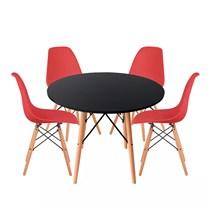 Conjuto de Mesa Redonda Preta com 4 Cadeira Eames Eiffel Vermelha