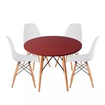 Conjuto de Mesa Redonda Vermelha com 4 Cadeira Eames Eiffel Branca