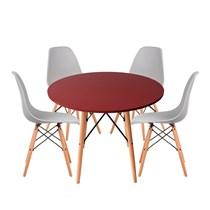 Conjuto de Mesa Redonda Vermelha com 4 Cadeira Eames Eiffel Cinza