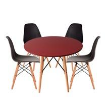 Conjuto de Mesa Redonda Vermelha com 4 Cadeira Eames Eiffel Preta