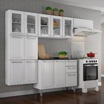 Cozinha Compacta 4 Peças 13 Portas 5 de Vidro e Balcão com Tampo e 2 Gavetas Luce Itatiaia Branca