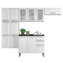 Cozinha Compacta 4 Peças 13 Portas Armário de Vidro e Balcão com Tampo e 4 Gavetas Luce Itatiaia Branca