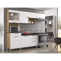 Cozinha Compacta 4 Peças Clean Itatiaia Nogueira/Branco Cetim