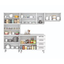 Cozinha Compacta 4 Peças com Paneleiro e Balcão 13 Portas 4 Gavetas Premium Itatiaia Branco