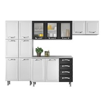 Cozinha Compacta 4 Peças com Paneleiro e Balcão 13 Portas 4 Gavetas Premium Itatiaia Branco/Preto