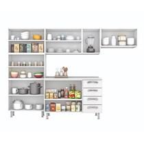 Cozinha Compacta 4 Peças com Paneleiro e Balcão IG3G4-120 13 Portas 4 Gavetas Premium Itatiaia Branco