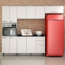 Cozinha Compacta 4 Peças Paneleiro com Nicho, Armários Aéreos e Balcão Alpes Valdemóveis Branco