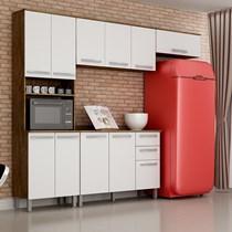 Cozinha Compacta 4 Peças Paneleiro com Nicho, Armários Aéreos e Balcão Alpes Valdemóveis Castanho/Branco
