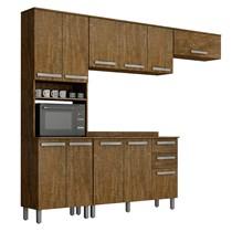 Cozinha Compacta 4 Peças Paneleiro com Nicho, Armários Aéreos e Balcão Alpes Valdemóveis Ipê