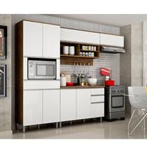 Cozinha Compacta 4 Peças Paneleiro com Nicho, Armários Aéreos e Balcão Turquesa Valdemóveis Ipê/Branco