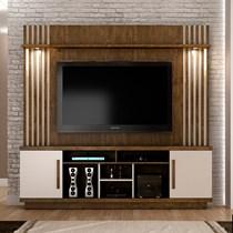 Estante Home para TV até 60 Polegadas Plenus Valdemóveis Ipê/Off White