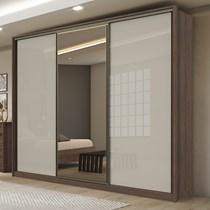 Guarda Roupa Casal com Espelho 3 Portas 6 Gavetas Spazio Lopas Imbuia Naturale/Off White/Imbuia Naturale
