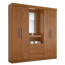 Guarda Roupa Casal com Espelho 4 Portas Gafieira Lopas Rovere Naturale
