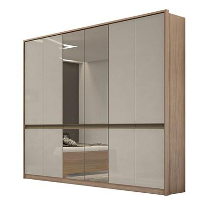 Guarda Roupa Casal com Espelho 6 Portas 6 Gavetas Urban Lopas Carvalho Naturale/Off White
