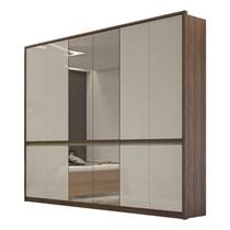 Guarda Roupa Casal com Espelho 6 Portas 6 Gavetas Urban Lopas Imbuia Naturale/Off White