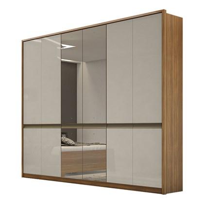 Guarda Roupa Casal com Espelho 6 Portas 6 Gavetas Urban Lopas Rovere Naturale/Off White