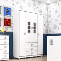 Guarda Roupa Infantil 4 Portas 3 Gavetas Sonic Tcil Móveis Branco