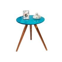 Mesa de canto madeira com vidro 0150 Ex Decor Amêndoa/Azul