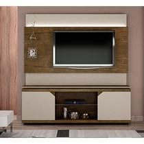 Rack Bancada Florença com Painel para TV até 65 Polegadas Turin Valdemóveis Ipê/Off White