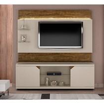 Rack Bancada Florença com Painel para TV até 65 Polegadas Turin Valdemóveis Off White/Ipê